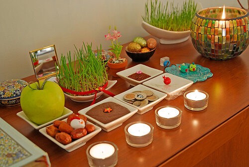 "What is the significance of the 7 items on the ""Haft Sin"" table for the Persian celebration of Nowruz?"