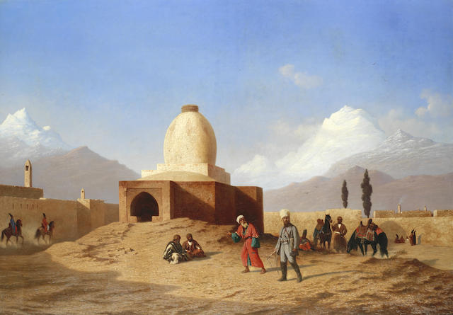 Iran Destination, an old painting of tomb of Esther and Mordechai in Hamedan, Iran