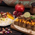 Persian food- chelo Kebab