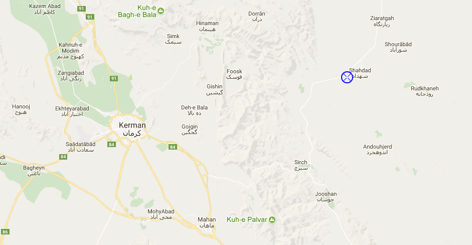 Shahdad desert google map location