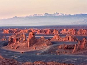 Shahdad desert in Kerman during tour around Iran