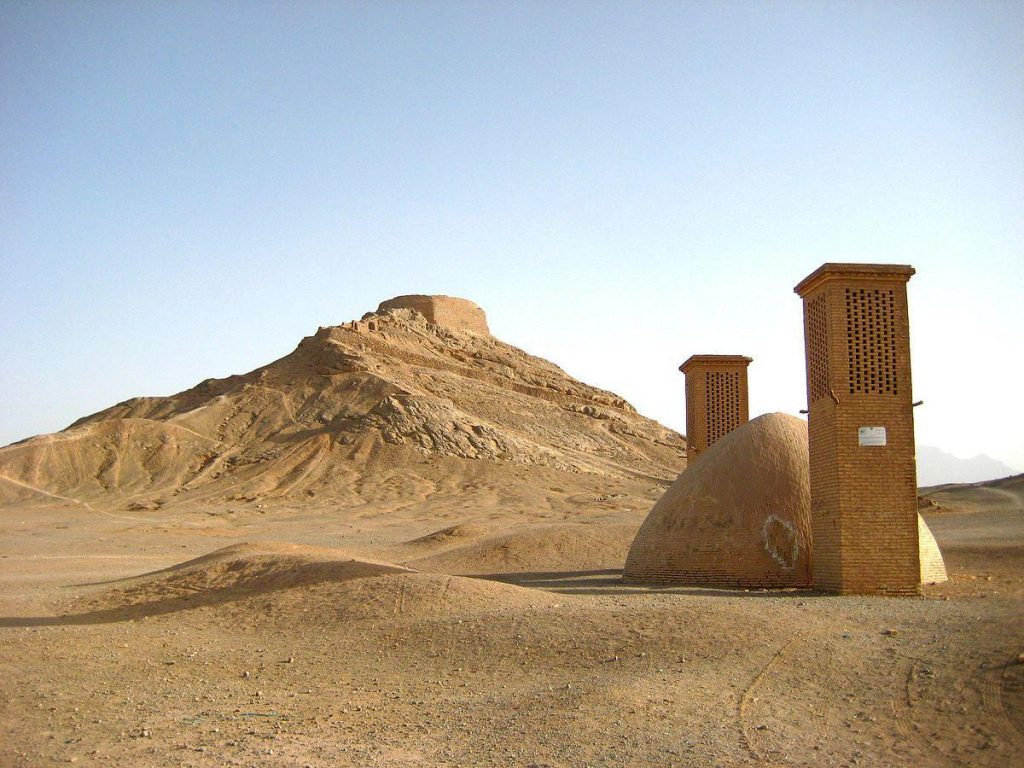 Towers of Silence in Yazd, a Zoroastrian sky burial site